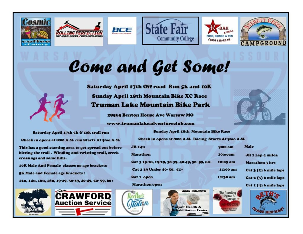 Come and Get Some Race Flyer - Sat Apr 14 5k/10k run, Sun Apr 15 XC Mountain Bike Race